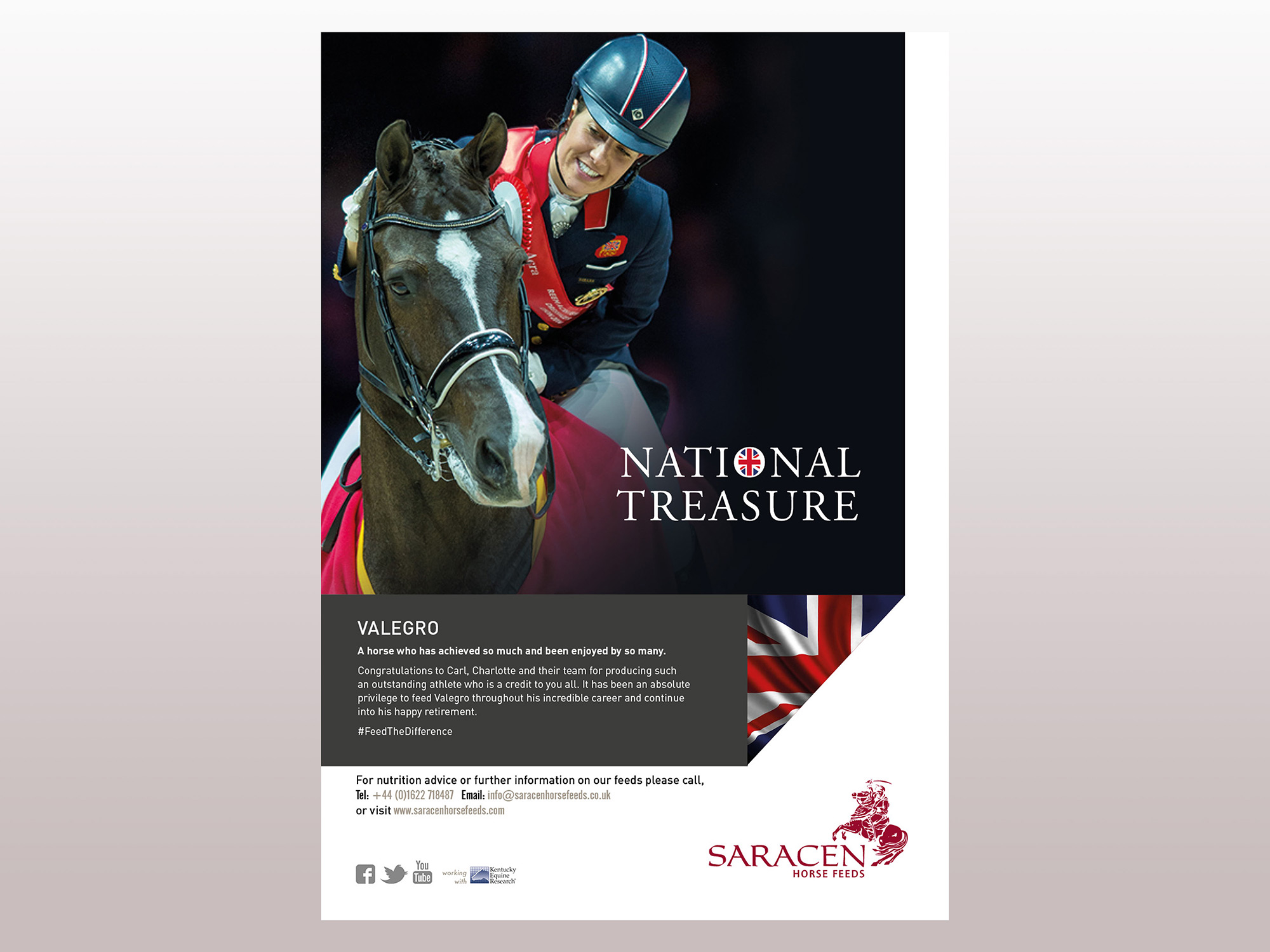 Saracen Horse Feeds National Treasure Magazine advert Valegro